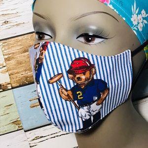 Teddy bear Polo Face Mask Cotton Reusable 3 Layer